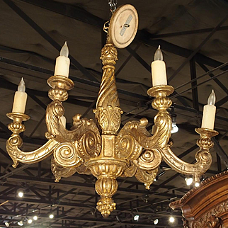 Antique French Six Light Giltwood Chandelier, Circa 1850