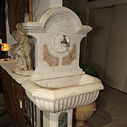 Antique Carved Marble Wall Fountain from Italy, Circa 1850