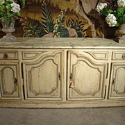 Louis XIV Style Painted Enfilade with Faux Marble Top-Late 1800's