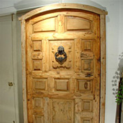 Antique Door from Northern Spain with Iron Hardware and Cast Iron Door Knocker