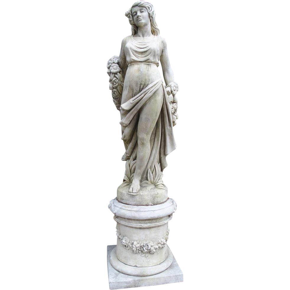 "Cast Stone Garden Statue from France, ""Femme A La Rose"""