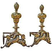 Pair of Period Louis XIV Bronze Andirons