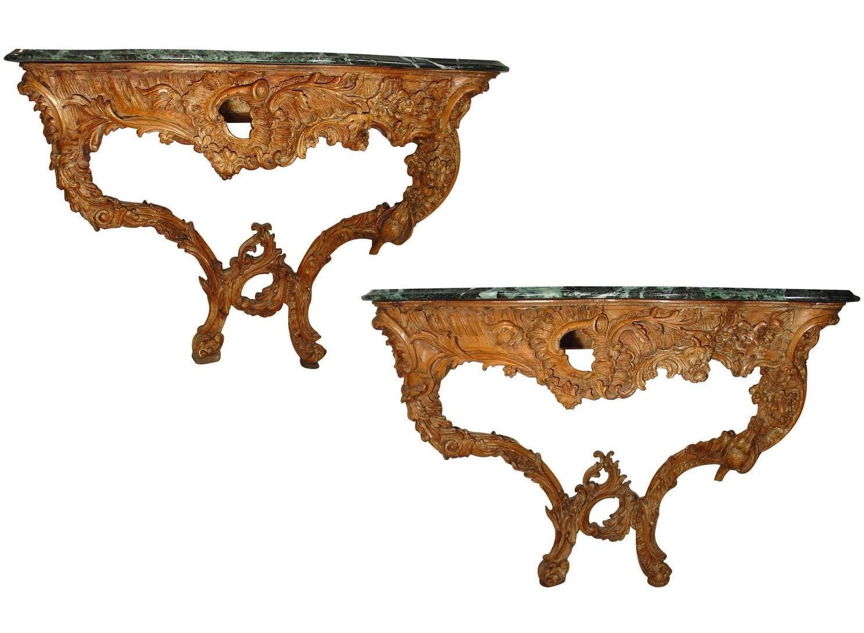 Rare Pair of French Rococo Consoles, circa 1760