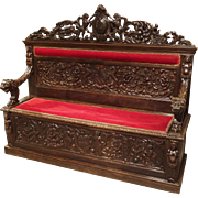 19th Century Renaissance Style Carved Walnut Wood Bench with Red Velvet