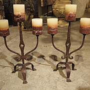 Pair of Forged Iron Candelabras from France