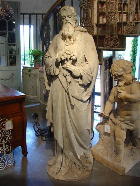 Antique Stone Statue Of St Joseph Late 1800s From