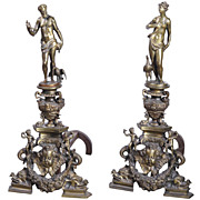 Pair of Antique French Bronze Andirons, Mid 1800s