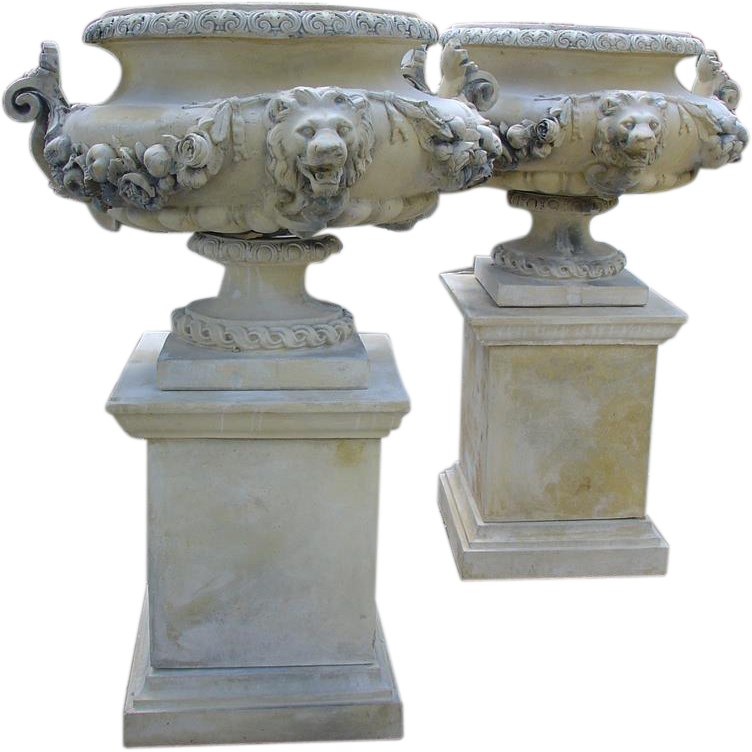 Pair of French Lion Urns on Pedestals