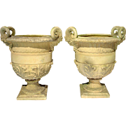 A Pair of Cast Stone 'Versailles' Urns
