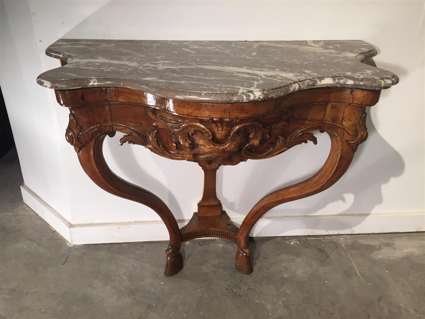 A Beautiful French Marble Topped Natural Wood Console from the Regence Period (1715-1723)