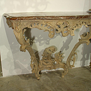 Beautiful Stripped Period Louis XV Console with Original Marble