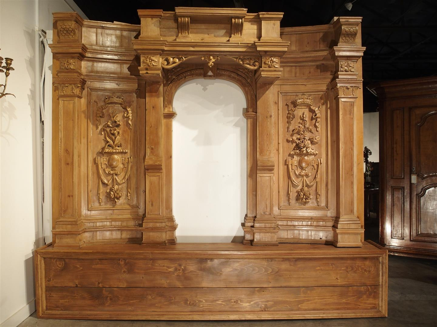 A Large and Unique Antique French Boiserie Section with Covered Alcove, 17th Century Elements