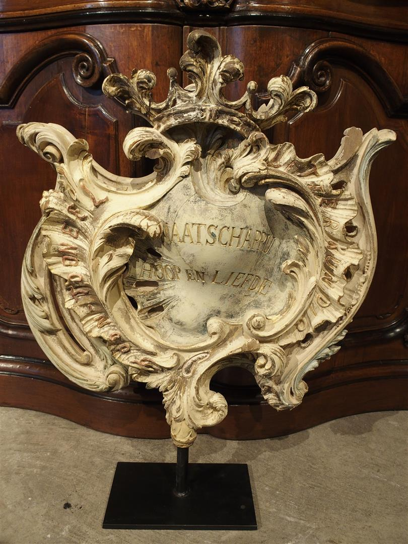 Carved and Polychromed Rococo Cartouche on Stand, Flanders 1857