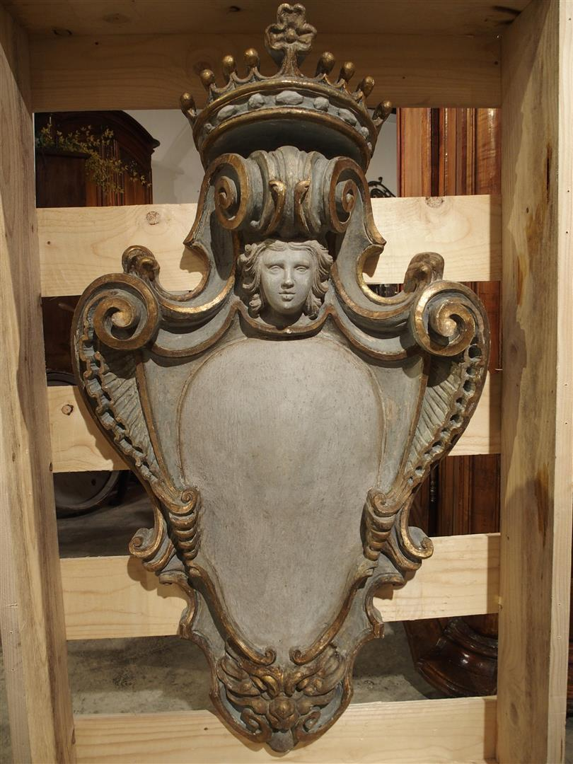 Large Carved and Painted Wooden Cartouche from Italy
