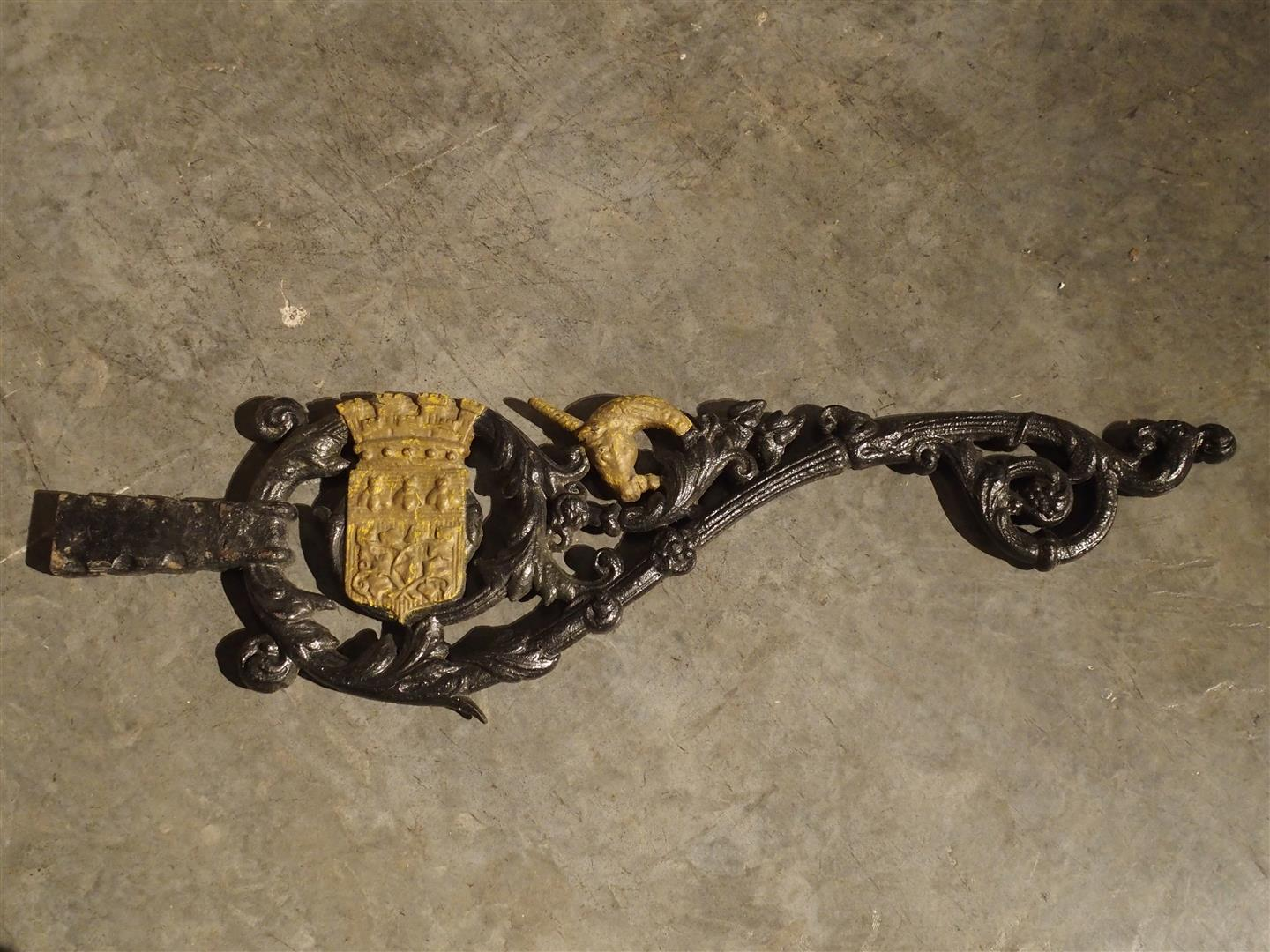 Antique Painted Cast Iron Lantern or Sign Holder from Amiens, France