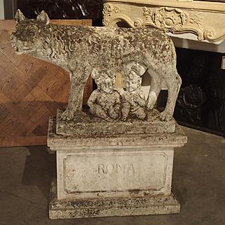 Antique Statue of the Capitoline Wolf of Rome, Carved Pietra di Vicenza Stone, Circa 1910