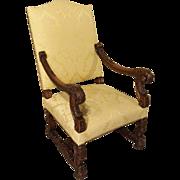 Antique French Walnut Wood Armchair, Circa 1890