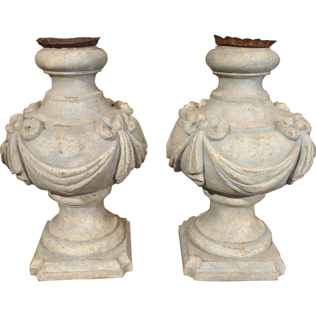 Pair of Pale Blue Painted Italian Table Lamp Bases