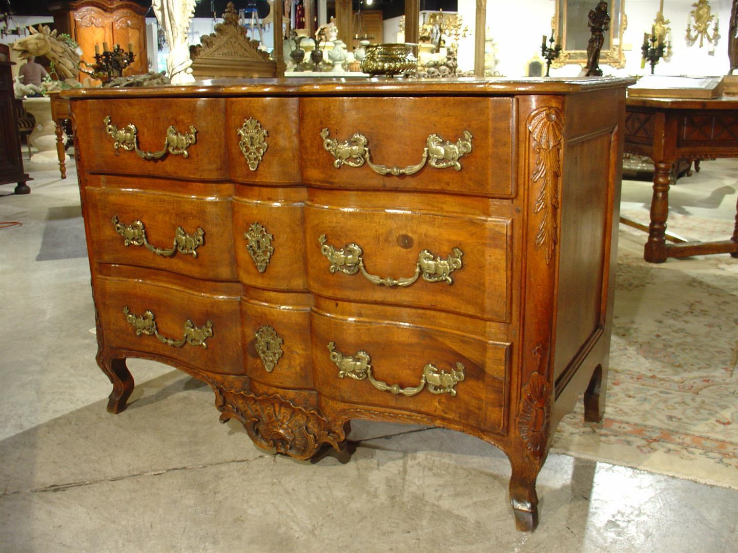Beautiful 18th Century Walnut Wood Commode from France with Original Hardware