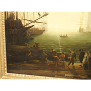 Large Antique Oil Painting on Canvas, Harbor at Sunset and the Villa Medici