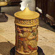 A Large Painted German Wax Candle on Stand