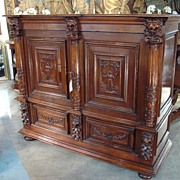 Antique Oak Renaissance Style Cabinet from France, C. 1895