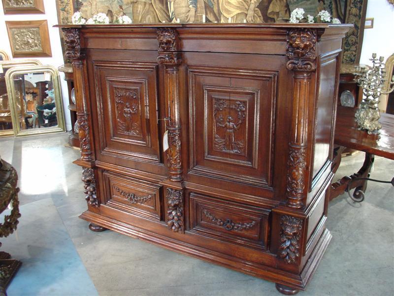 Antique Oak Renaissance Style Cabinet from France, C. 1895