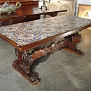 Antique Table with Portuguese Tiles and Spanish Renaissance Base