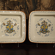 Pair of Large Hand Painted Italian Plates