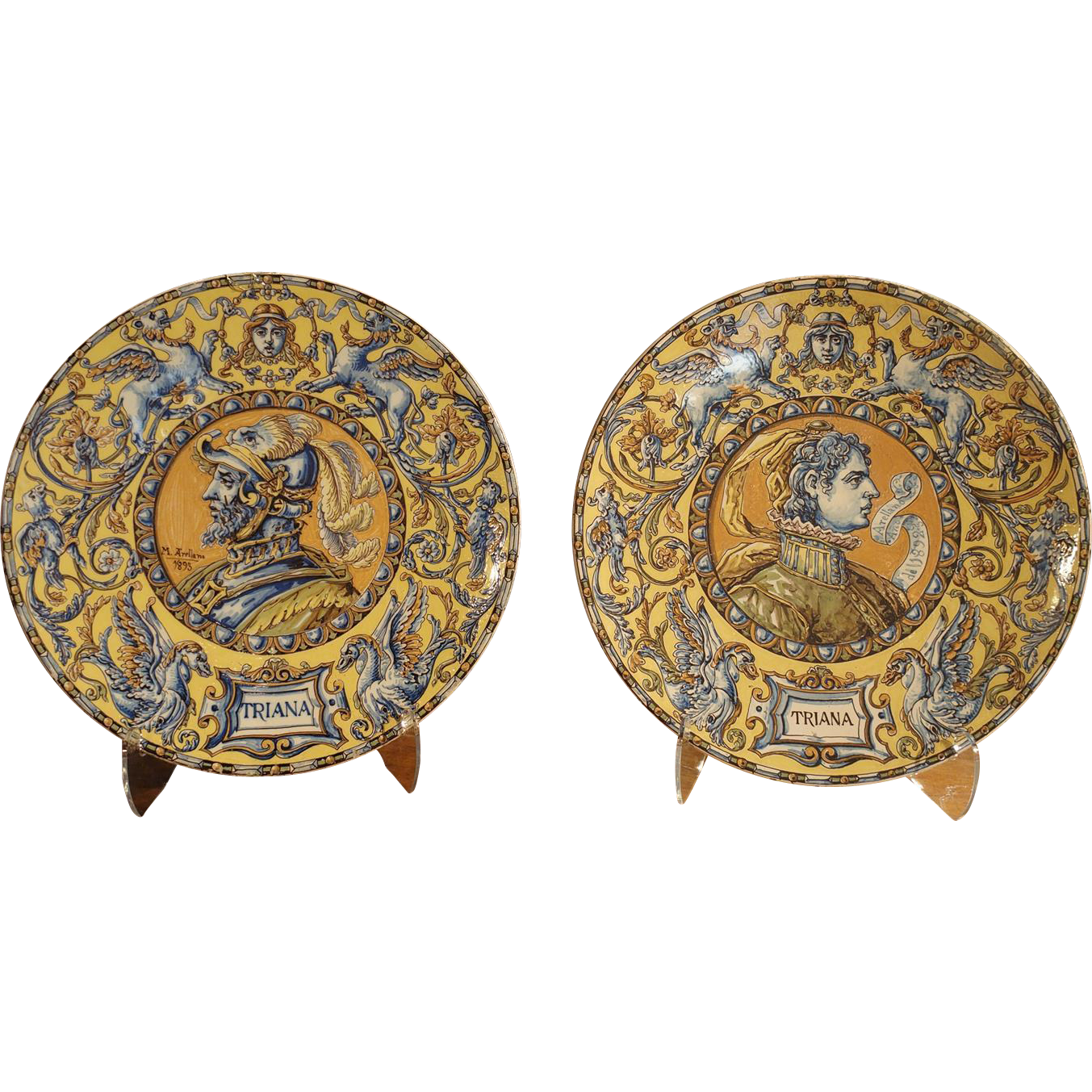 Pair of Signed 19th Century Spanish Plates from Triana