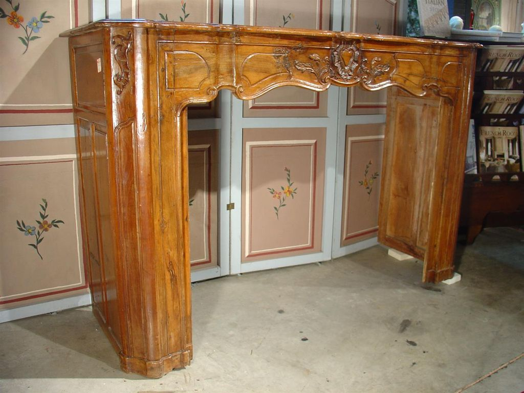 18th Century Louis XV Walnut Wood Mantel