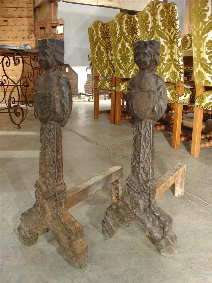 Period French Gothic Andirons