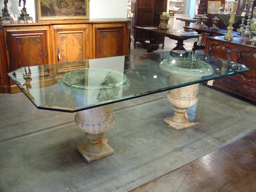 Round glass table tops - Beveled Glass Table Top On Antique French Stone Urns