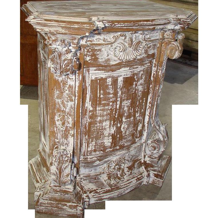 18th Century Parcel Paint Pedestal from Belgium