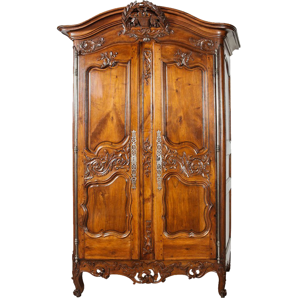 """18th Century Walnut Wood Armoire from Nimes, France - Louis XV Provencal, Signed """"IG"""""""