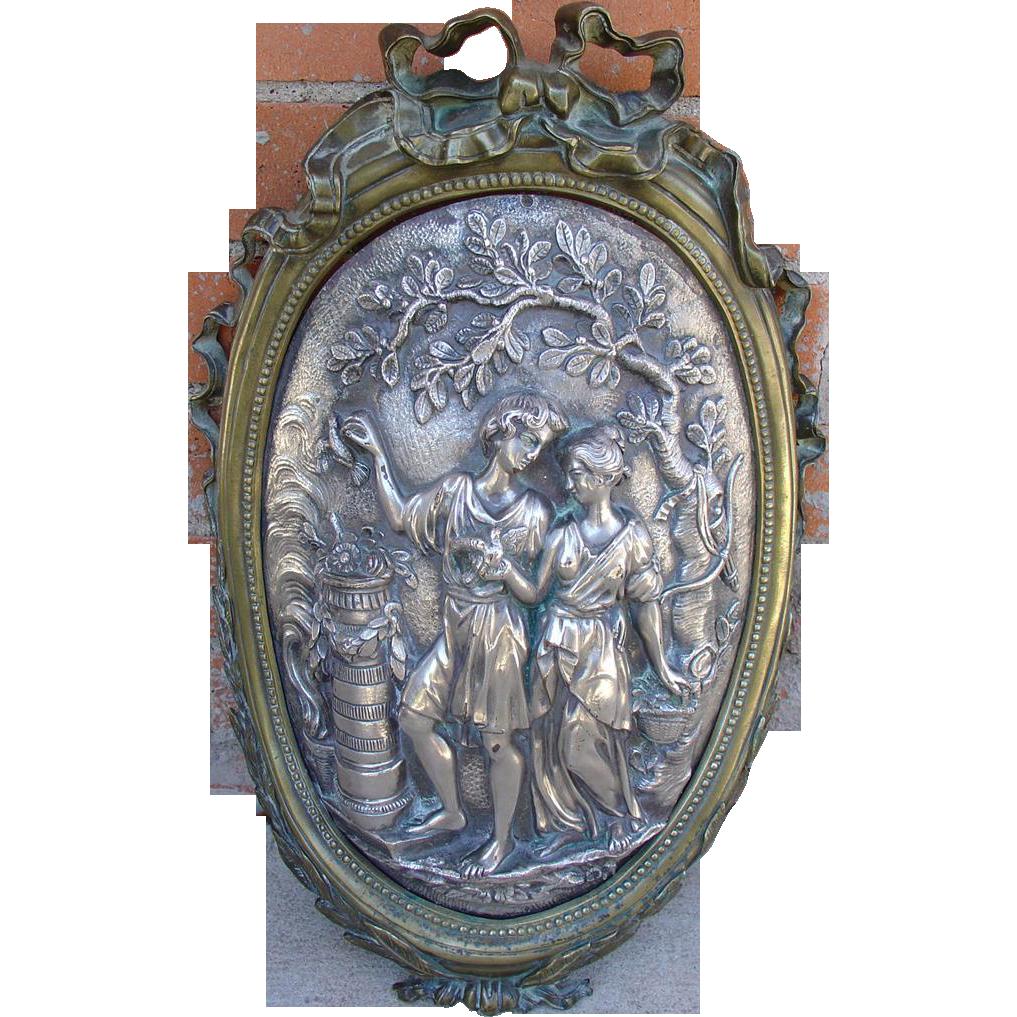 Antique Bronze Louis XVI Style Plaque, Early 1800's