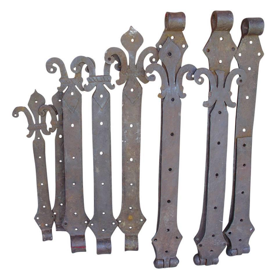 Lot of Rare 15th Century Forged Iron Door Hinges from France