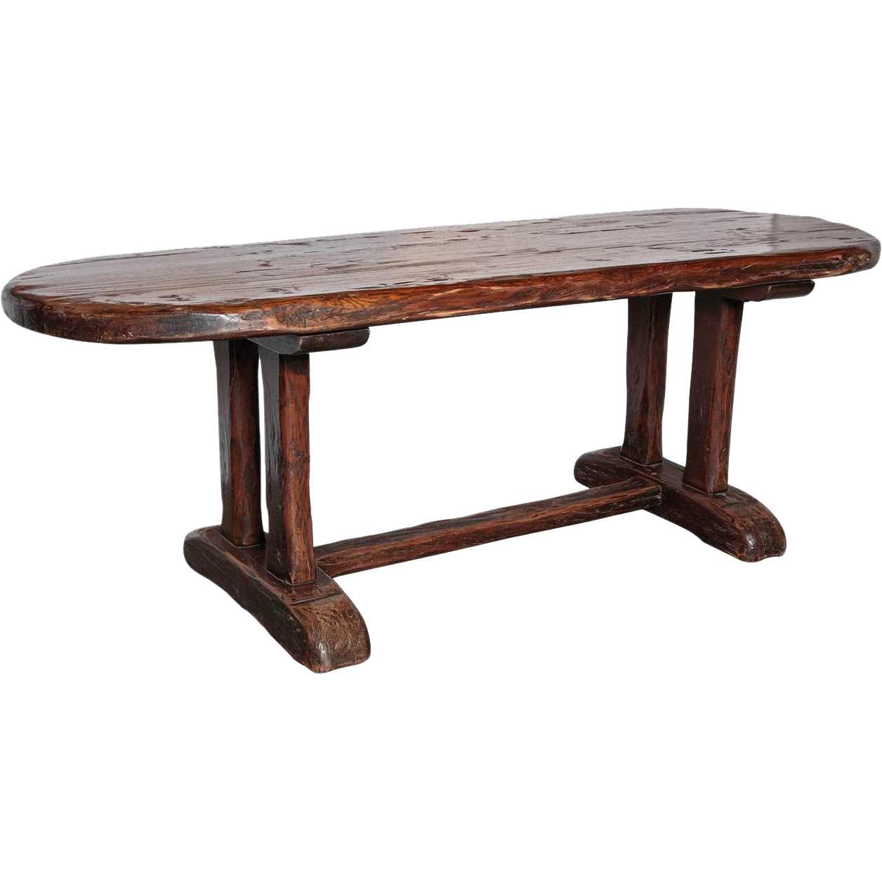 Oval French Monastery Table, 20th Century