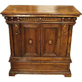 A Small Late Renaissance Walnut Wood Credenza, Italy 16th Century