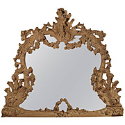 Large Antique Stripped Walnut Wood Rococo Style Mirror