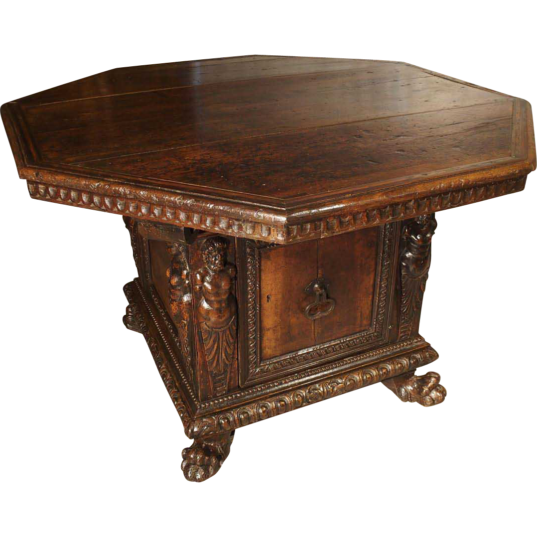 Period High Renaissance Walnut Wood Octagonal Center Table from Northern Italy, Age-1500s