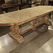 Stripped Oak French Baluster Leg Dining Table, Early to Mid 1900s