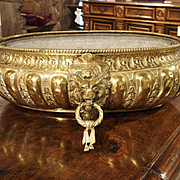 A Large Antique Brass Jardiniere from France, 19th Century
