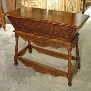 Walnut Wood Petrin/Maie from France with Musical Motifs