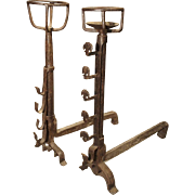Rustic Antique French Andirons from the 1700s
