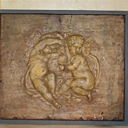 Plaster Bas Relief of Bacchanalian Putti with Aged Patina