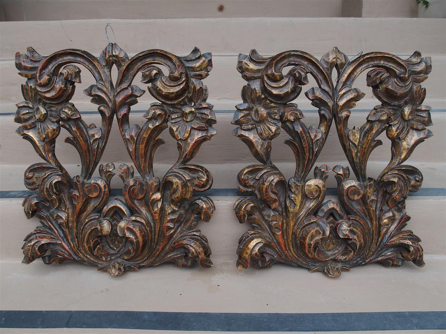 A Pair of Polychromed Wall Carvings from Spain, 1900s