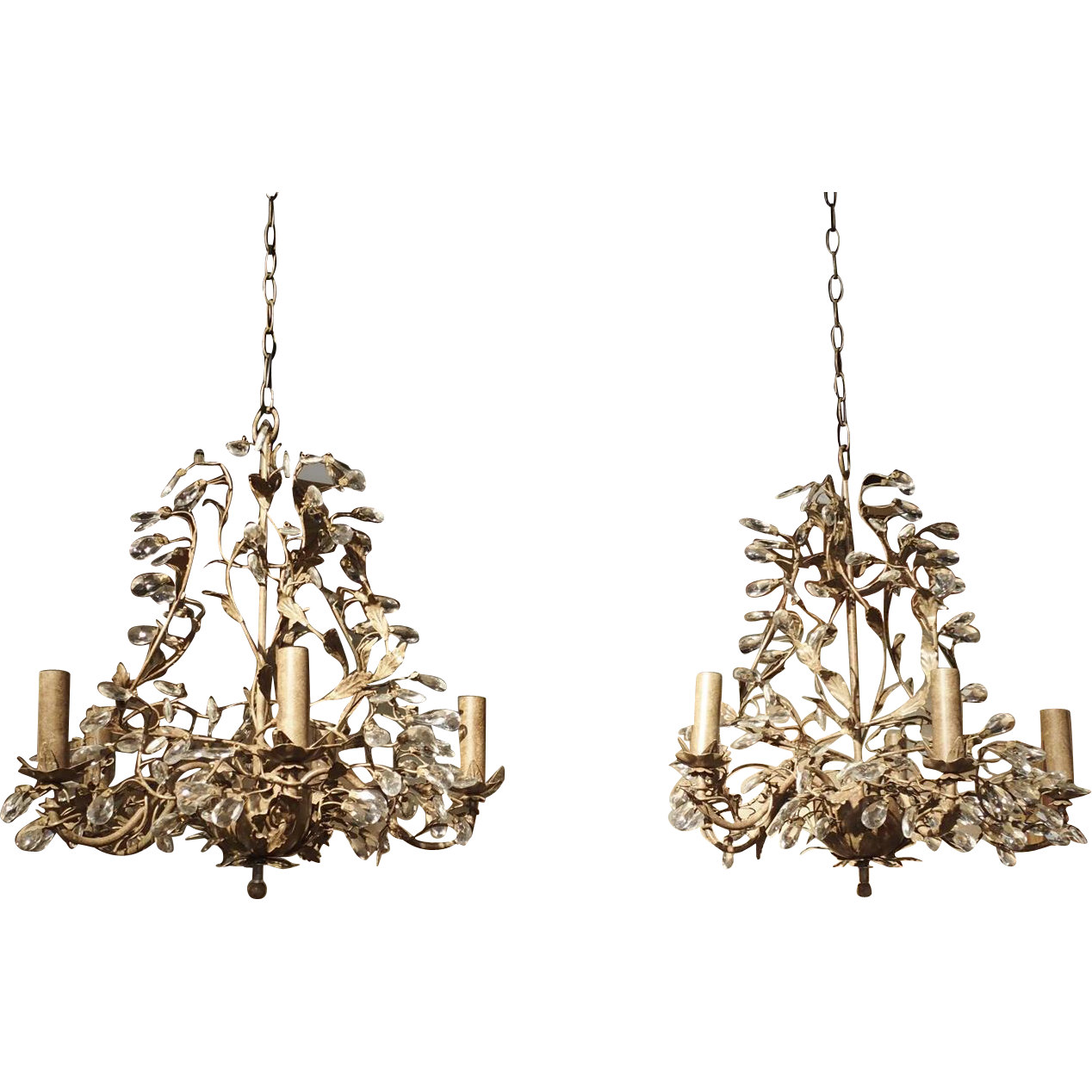 Pair of Vintage French Metal Chandeliers with Scrolling Foliate Vinework