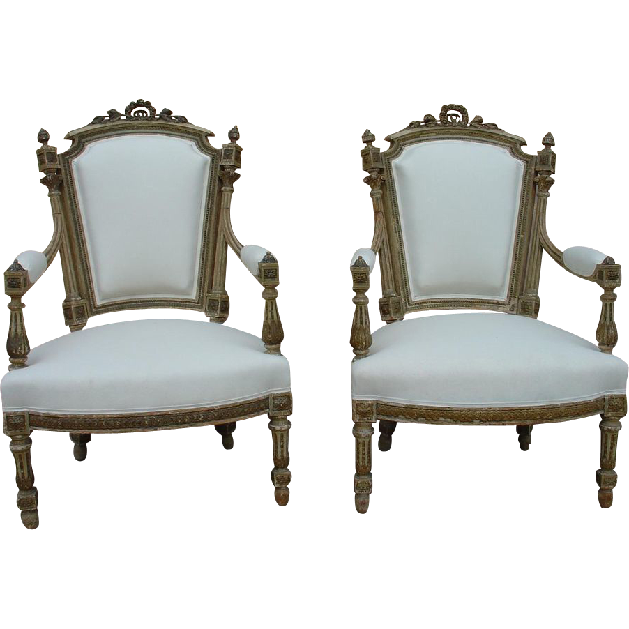 Pair of Painted Antique Louis XVI Style Armchairs, C.1850