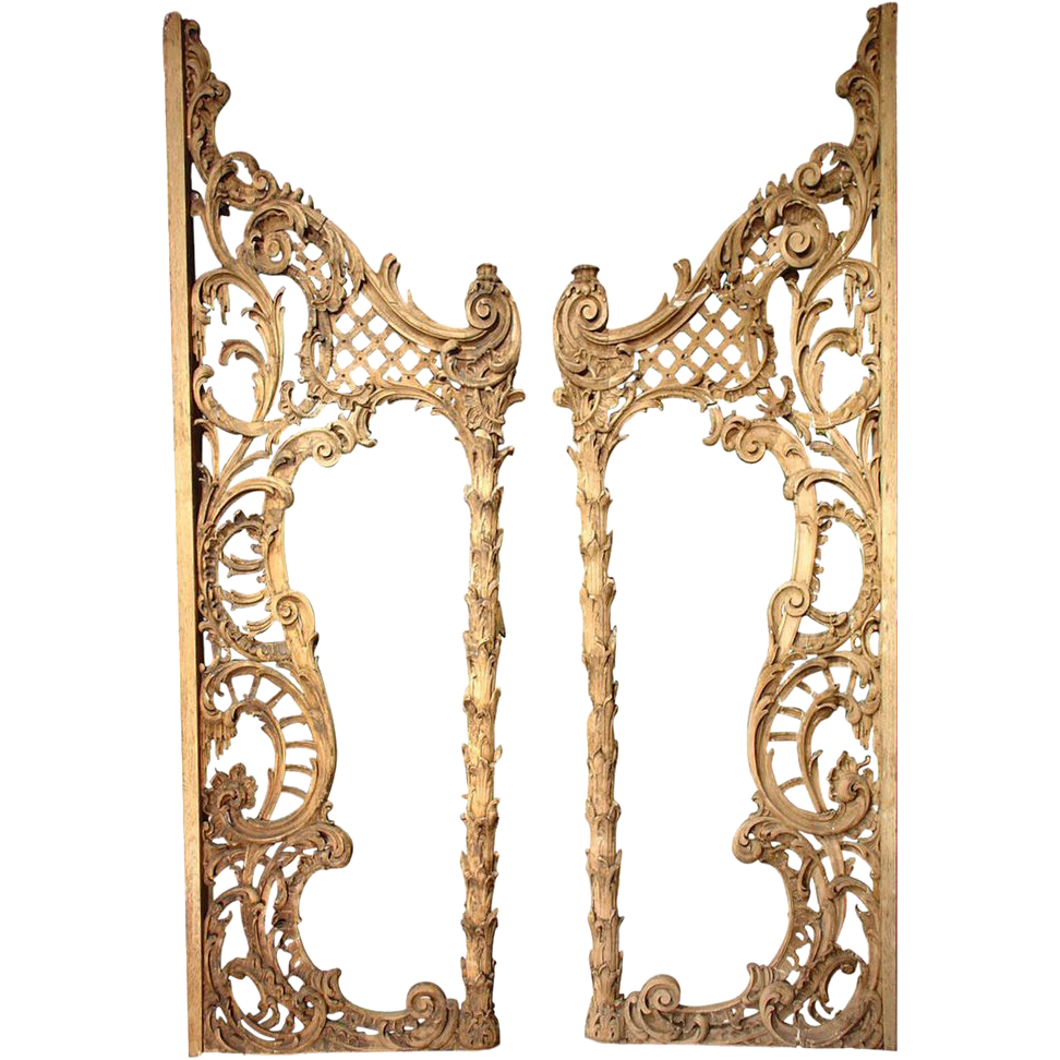 Rare Pair of Carved Antique French Walnut Wood Rococo Gates